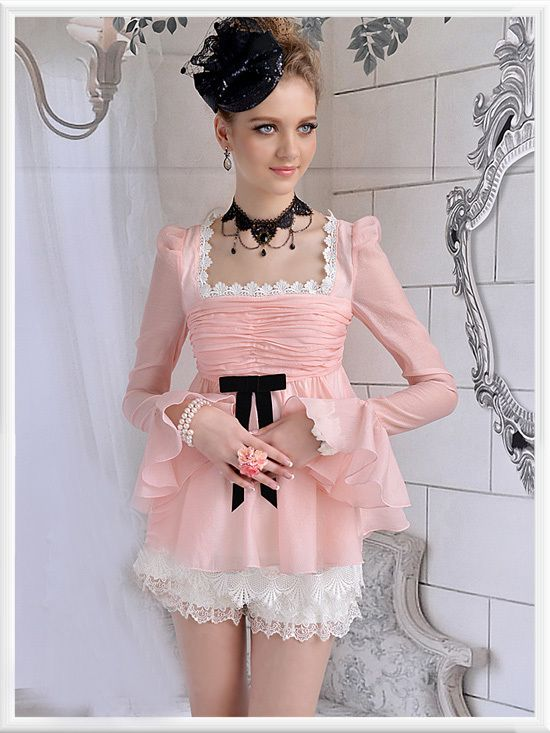 Morpheus Boutique  - Pink Lace Shoulder Princess Flare Sleeve Chiffon Ruffle Shirt