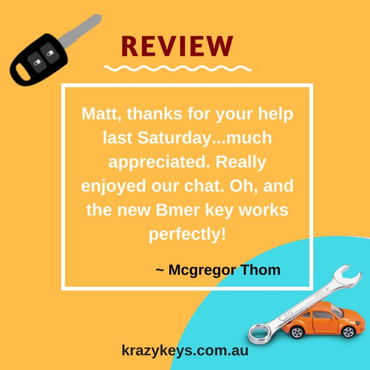 Here we share the feedback of our satisfied and happy client from the services of krazy keys, a car key specialists and locksmith services provider in Perth. View this image to read the review given by Mcgregor Thom. Source: http://krazykeys.com.au