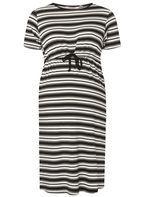 Womens **Maternity Black And White Striped Dress- Black