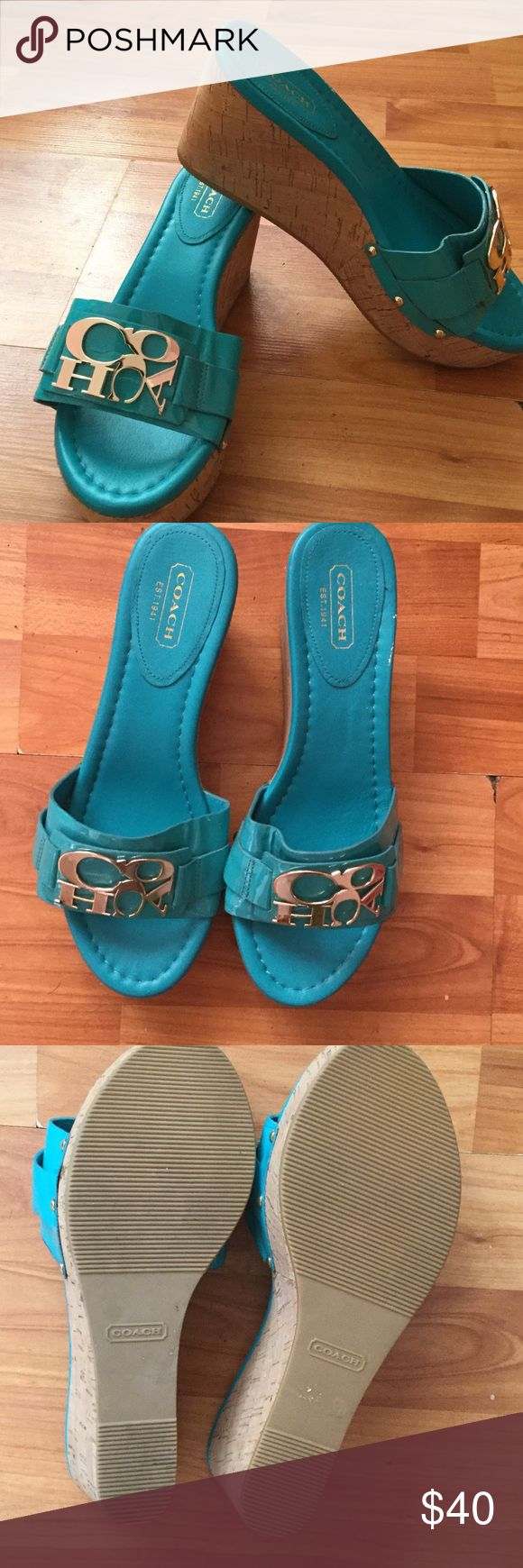 Coach Teal Turquoise Wedge Sandal Coach Teal Turquoise Wedge Sandal that have never been worn. Cork wedge heel with silver coach logo. Heels or 3 to 4 inches and height size 6. Coach Shoes Wedges