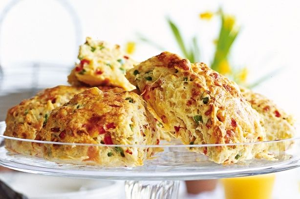 Savoury scones with ham, capsicum and cheese make a super lunch-box filler or afternoon snack.