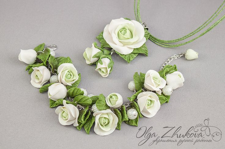 Jewelry set with white roses from polymer clay by polyflowers.deviantart.com on @deviantART