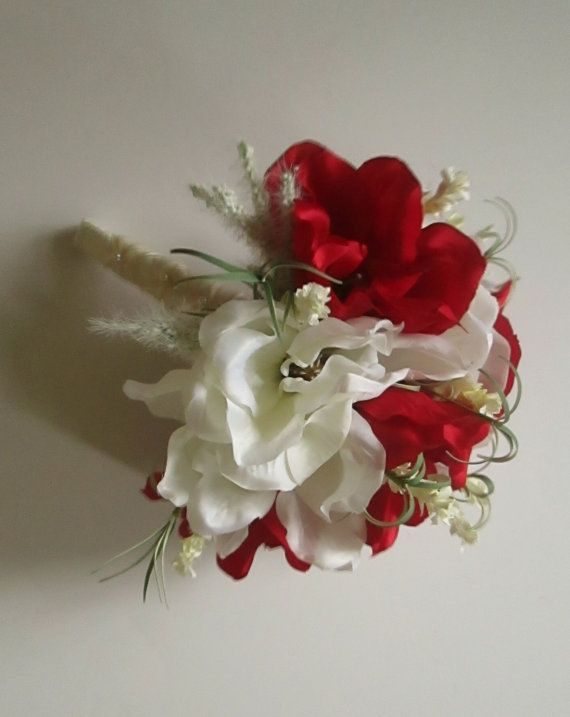 Magnolia Bridal Bouquet in Red and White, Magnolia Bouquet, Silk Wedding Bouquet by shannonkristina. Explore more products on http://shannonkristina.etsy.com