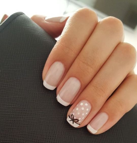 Lovely nail art design with white dots