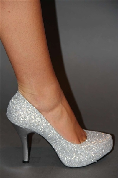 Silver glitter heel! It also comes in gold! Great for holiday!