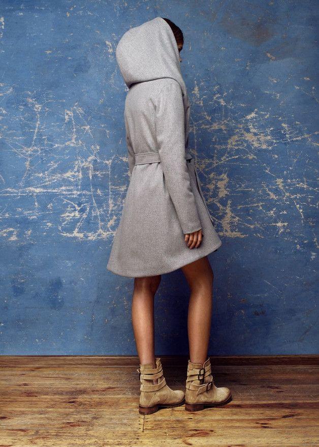 Asymetryczny szary płaszcz - LCLUCJA - Płaszczyki