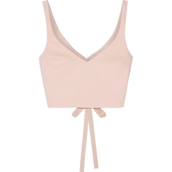 Elizabeth and James Nia cropped stretch-ponte top (9.560 RUB) ❤ liked on Polyvore featuring tops, crop top, neutral, zipper crop top, pink top, lace up top and shirt crop top