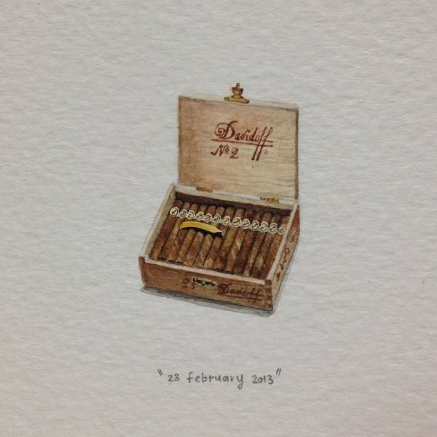 Day 54 : Managing a 10 day shoot for these guys. 21 x 27 mm. #365paintingsforants #watercolour #miniature #davidoff #cigars (at Vredehoek)