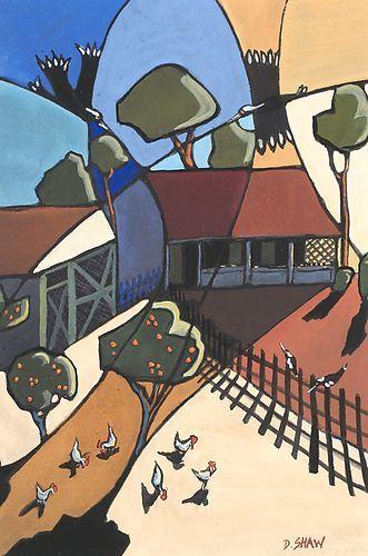 Australian artist Doreen Shaw   Farmyard GOUACHE 38 x 30 cm