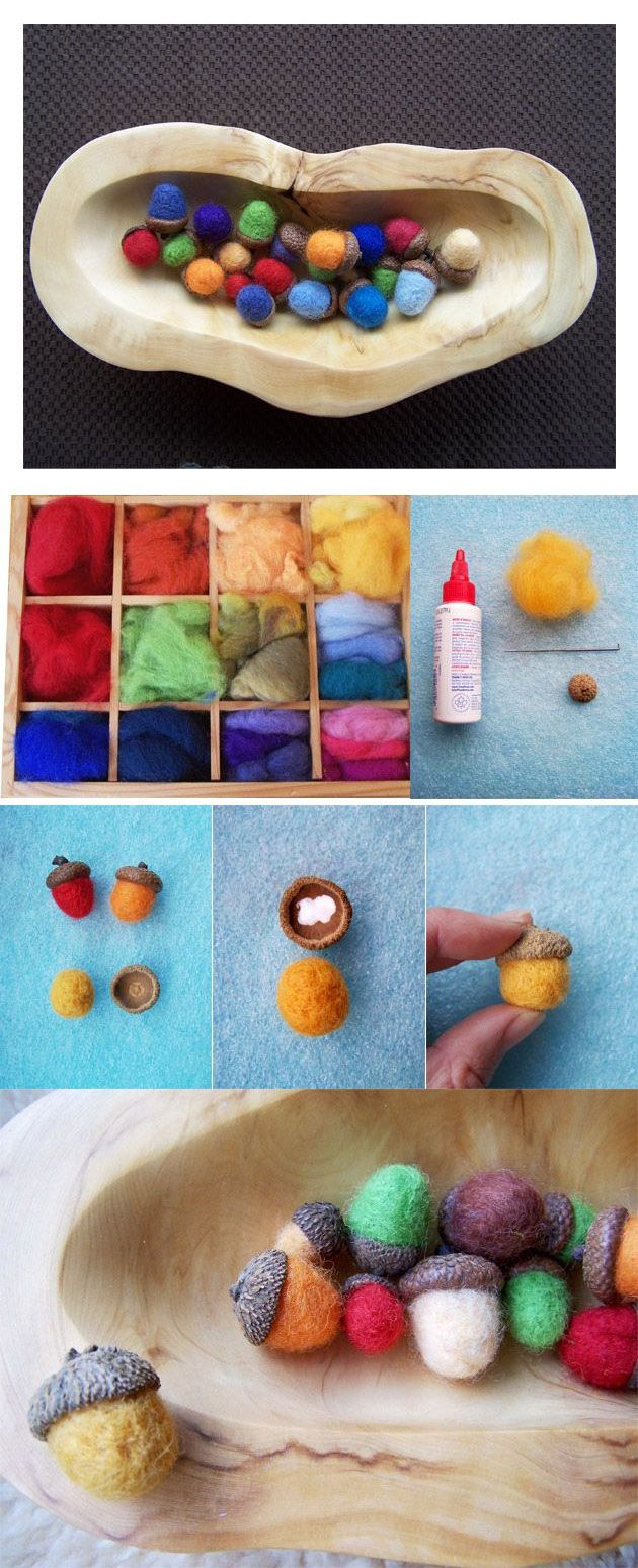 {Crafts for Kids: Needle Felted Acorns} Great activity to accompany fall books!