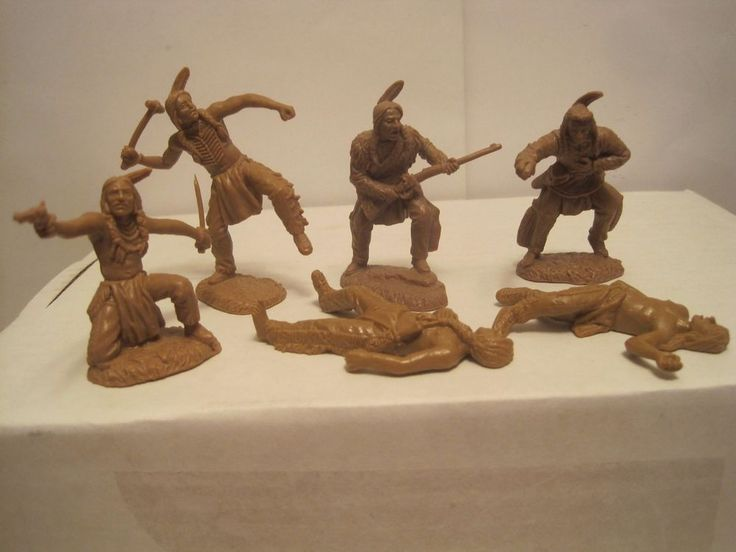 TSSD FORT APACHE PLAYSET 6 INDIANS MARX BARZSO LIKE 60MM PLASTIC TOY SOLDIERS #TSSD