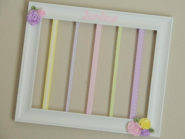 Custom Hairbow Holder. Just a picture frame and some ribbon! How clever! A great gift for a baby shower!