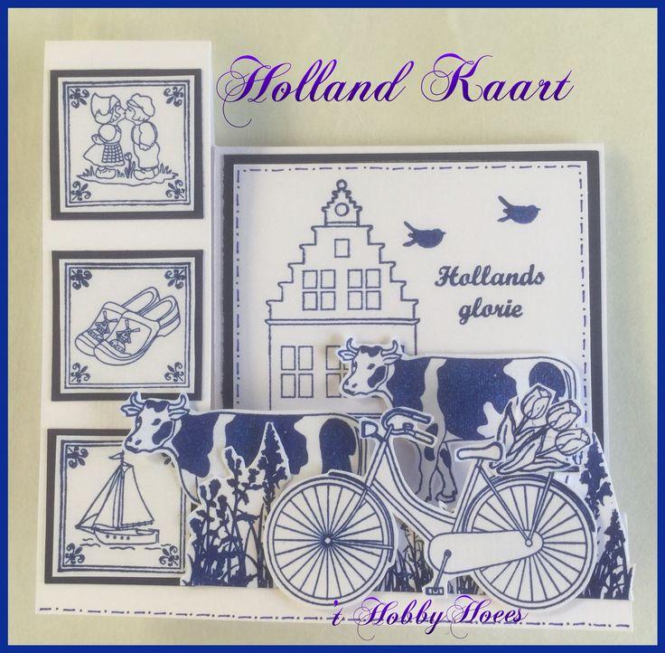 Holland Kaart 3. De Clear Stamp sets zijn van Aurelie en Amy Design (Boekenvoordeel). De inkt is van Versafine: Majestic Blue. De werkbeschrijving van deze Holland kaartvariant zal binnenkort verschijnen. 't HobbyHoees 18 juni 2016