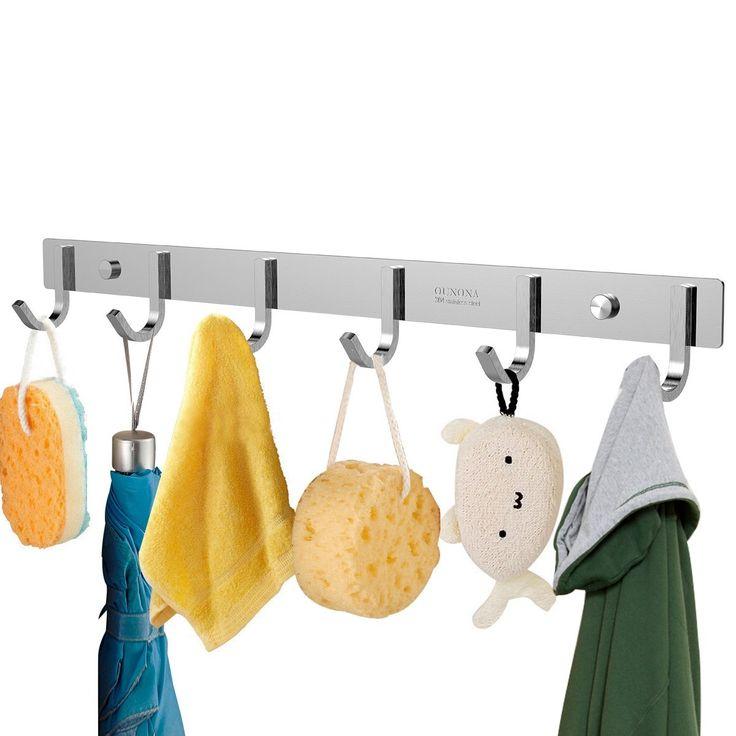 OUNONA Garderobenleiste Hakenleiste Edelstahl Garderobenhaken Mit 6 Haken für Kleidung und Schlüssel, Edelstahl, 17,32 Zoll: Amazon.de: Küche & Haushalt