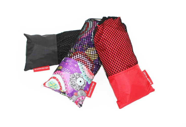 ScooterSlingz packed in stuff bags.  Come in a range of colours