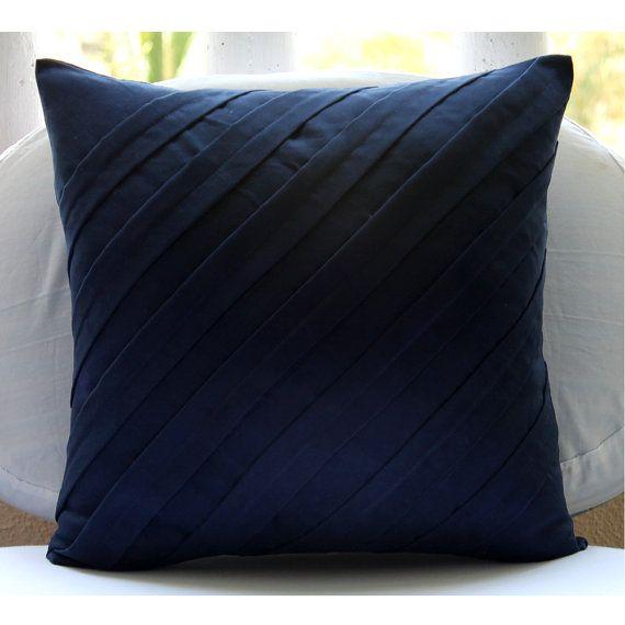 Contemporary Navy Blue - Pillow Sham Covers - 24x24 Inches Suede Pillow Sham Cover in Navy Blue Color