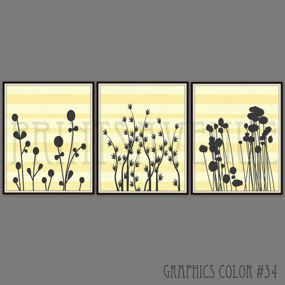FLOWER Art Prints, Trio Wall Art, MODERN FLORAL Wall Decor, Yellow and Gray Art Print, by Prints Avenue