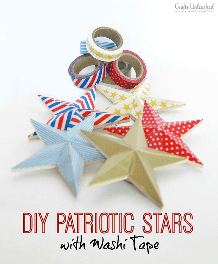 Washi Tape Stars #patriotic #4thofJuly #washitape #crafts