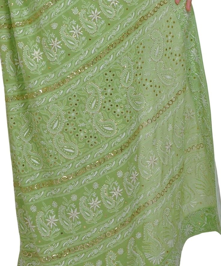 Pastel Green Heirloom Quality Resham Chikankari and kamdaani Saree