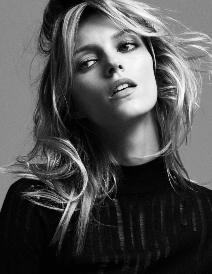 Anja Rubik gets her closeup in a black and white image