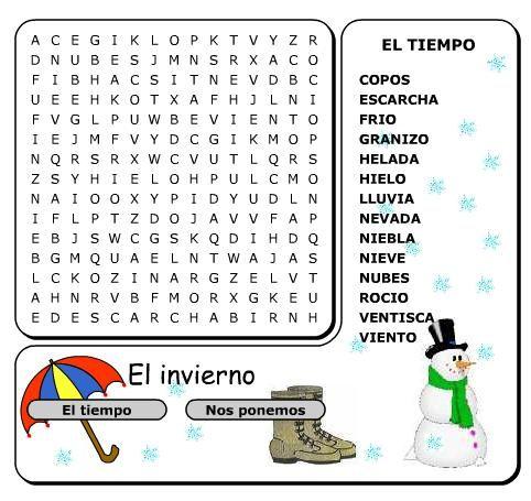 Sopa de letras el tiempo vocabulario pinterest - Sopa de letras de navidad ...