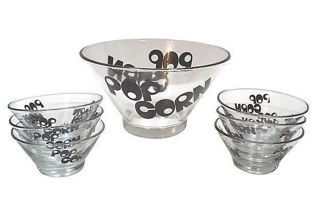 Mid-Century Glass Popcorn Bowls - Set of 9 on Chairish.com