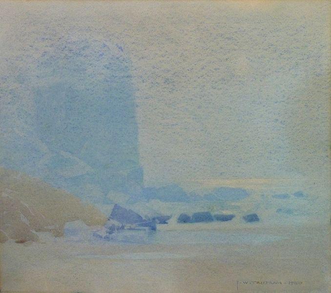 J. W. Tristram TitleMoonlight reflection through the mist Date1930