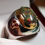 Solid Gondwanaland Opal & Ruby Men's Ring set in 22 Karat Gold