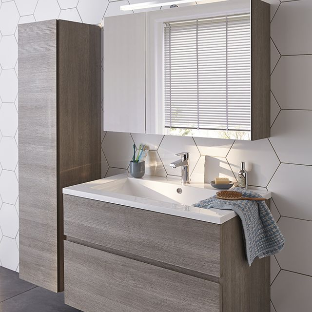 Meuble de salle de bain décor chêne clair 90 cm Calao - CASTORAMA ...