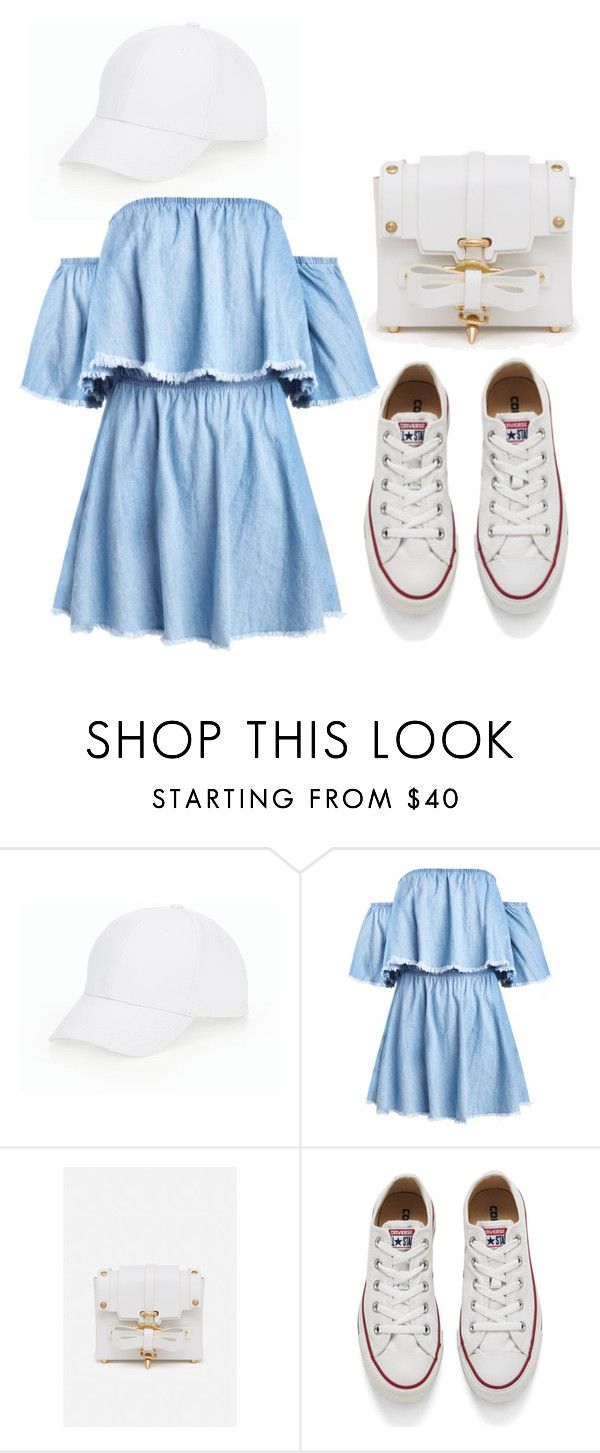 """Jeans dress white white"" by cottonyitsluv on Polyvore featuring Talbots, Niels Peeraer and Converse"