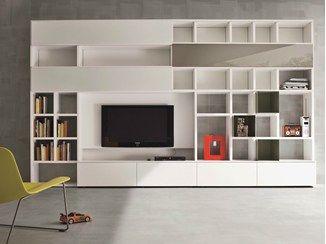 Mueble modular de pared lacado con soporte para tv SPEED E