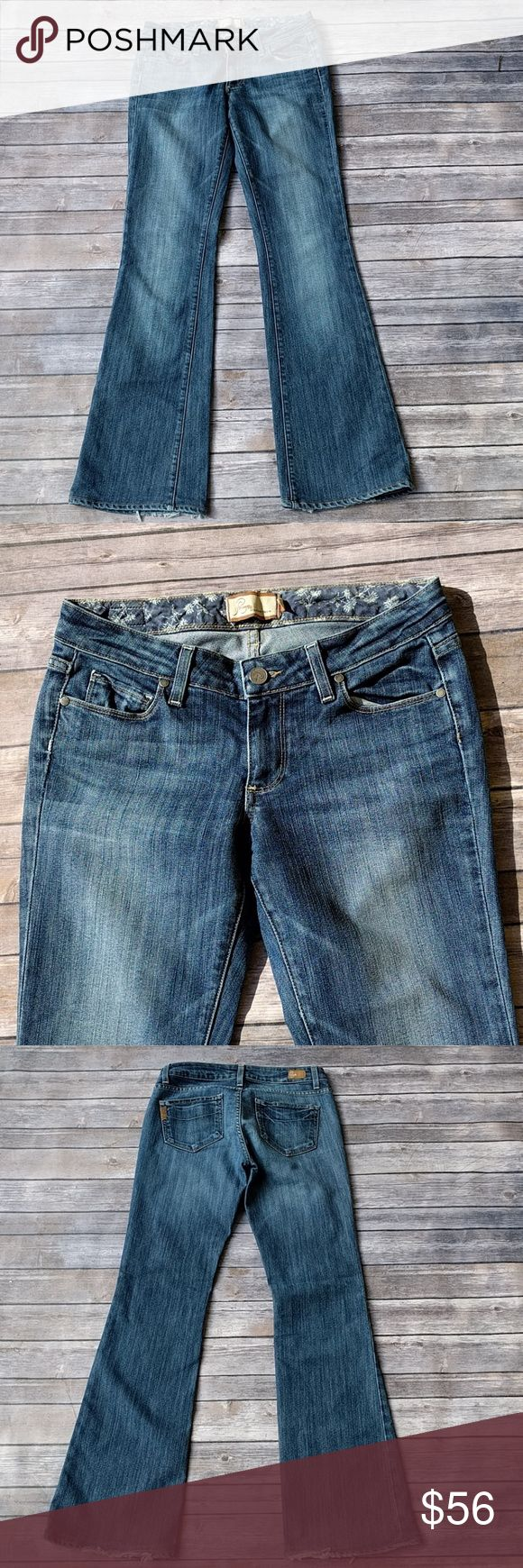 Paige premium denim jeans Beautiful medium wash Paige premium denim super flattering color. Great condition but there is some fraying on the back at the very bottom Inseam 31 Outseam 39.5 Rise 7.5 Paige Jeans Jeans
