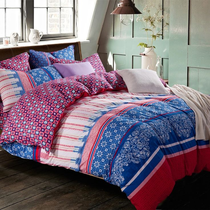 Blue Red and White Luxury Western Modern Chic Tribal Print Polka Dot Kids and Teen Full, Queen Size Bedding Sets - EnjoyBedding.com