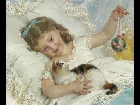 Кото-живопись. Девочка с кошкой. Эмиль Муньер / Cat and painting. Girl w...