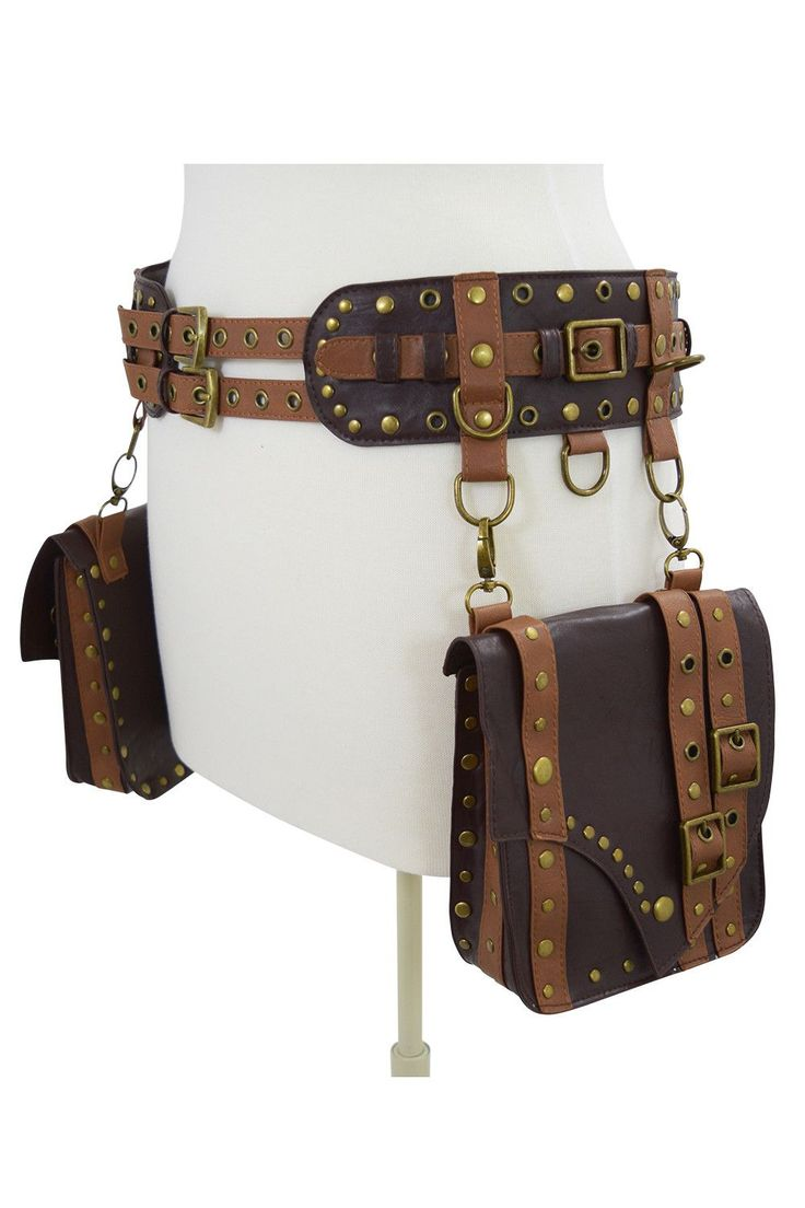 Very cool western steampunk utility saddlebag belt by Restyle. Made of high-quality faux leather, two saddlebag pockets which are detachable, bags are made of two shades of faux leather and accented w