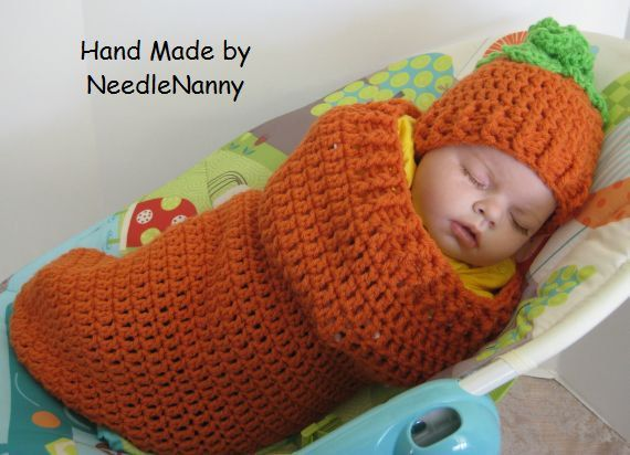 Crochet Baby Carrot Cocoon and Hat..Halloween by NeedleNanny