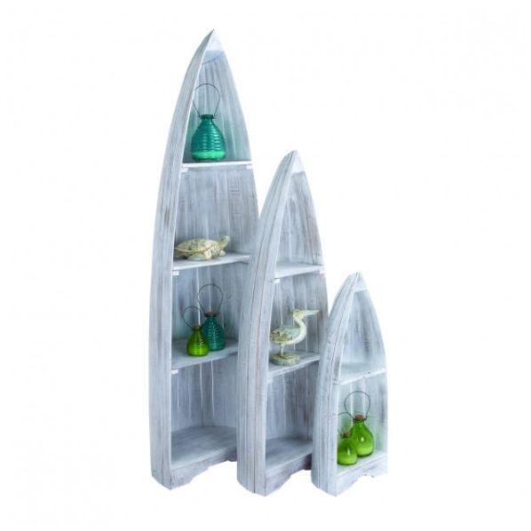 Set Of 3 Nautical Wooden Boat Shelves