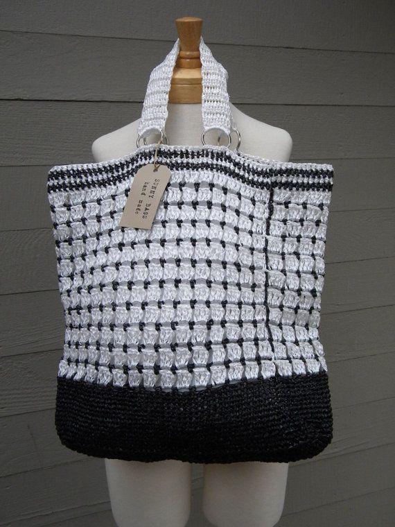 Handmade Reusable Grocery Bag Hand Crocheted Bag Raffia