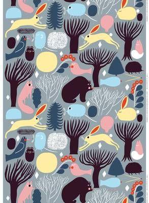 Huhuli Marimekko Fabric - grey