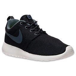 Women's Nike Roshe Run Casual Shoes| FinishLine.com | Black/Summit White/Volt/Dark Armory Blue