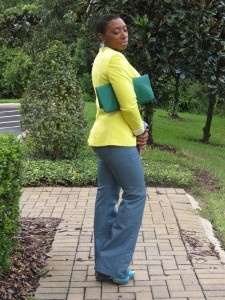 Yellow Blazer & Green Clutch
