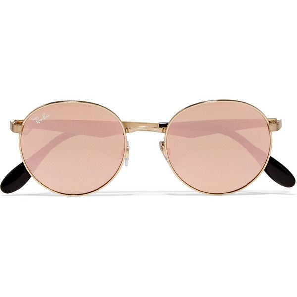 Ray-Ban Round-frame gold-plated mirrored sunglasses, Women's featuring polyvore, women's fashion, accessories, eyewear, sunglasses, glasses, mirror sunglasses, retro glasses, ray ban sunglasses, round sunglasses and round frame sunglasses