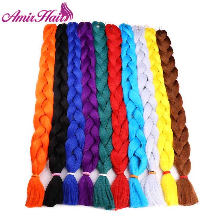 "Amir  82"" 165g Jumbo Braids braiding hair Kanekalon Braiding Hair Purple Green synthetic hair Extensions Crochet braids"
