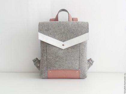 Рюкзаки ручной работы. Ярмарка Мастеров - ручная работа. Купить Серый рюкзак из фетра и натуральной кожи. Handmade. Сумка из фетра