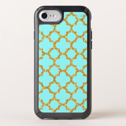 Modern Faux Gold Glitter Mosaic Quatrefoil Pattern Speck iPhone Case - luxury gifts unique special diy cyo
