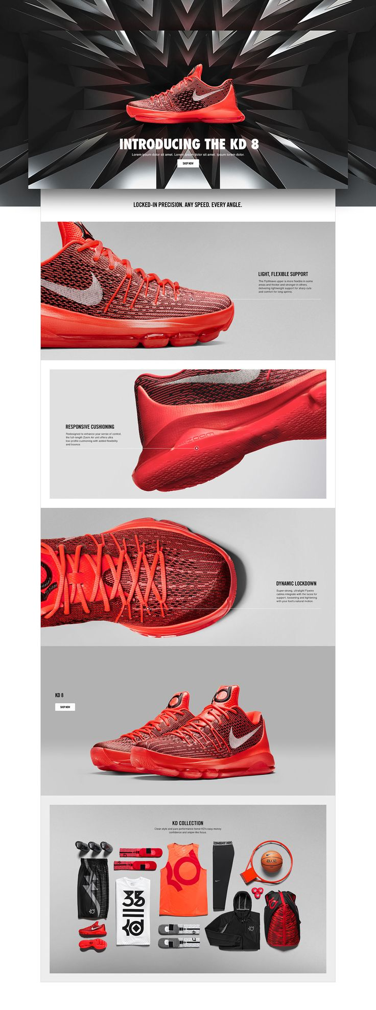 A collection of product story pages created at Nike. The collection covers Nike Basketball, Mens Training, Running categories.