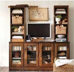 built in seating around fireplace ideas | bookshelves around tv pottery barn