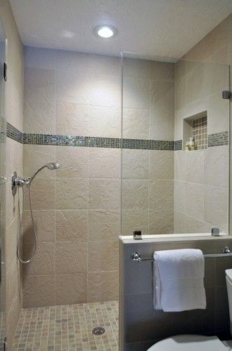 Half wall with glass for shower