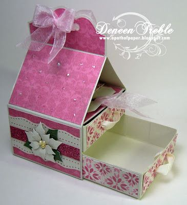 A Path of Paper: Treat Box. Tutorial with measurements. (Can be used to hold 4 tealights and matches - see pin from Mariannes Papirverden)