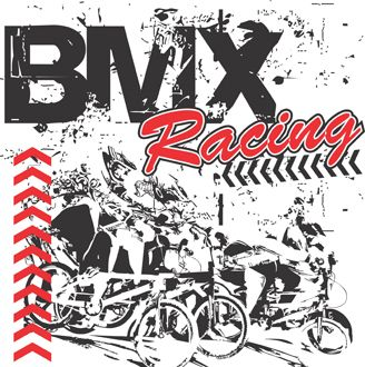 BMX racing graphic illustration for printing on t-shirts. This is baller status lol
